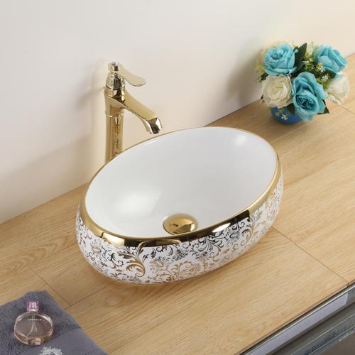 lavabo sứ  Nghệ Thuật, chậu rửa tay sứ-L023