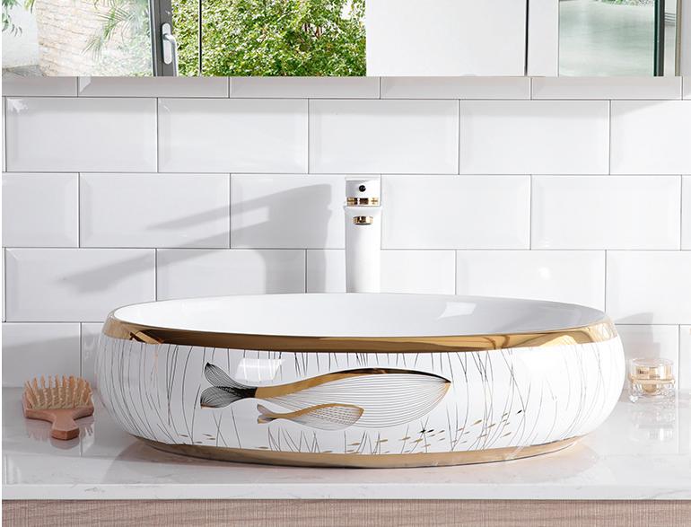 chậu sứ nghệ thuật , chậu rửa tay sứ, lavabo sứ  Mẫu cá- LB111